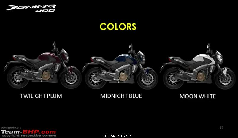 Bajaj launches Dominar 400 at Rs. 1.36 lakh (Disc brake variant) & Rs. 1.5 lakh (ABS variant)-colours.png