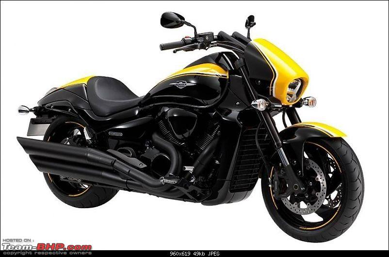 The Suzuki 155cc Intruder. EDIT: Launched at Rs. 98,340-2014suzukiintruderm1800bosseditionindiafrontview.jpg