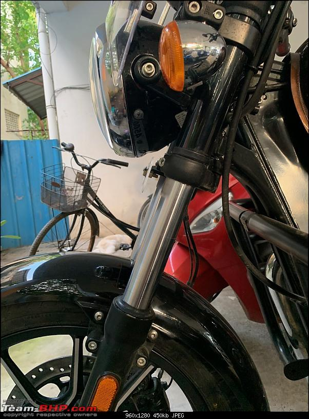 Royal Enfield Meteor 350 Review : 'Meteor'itic rise of a traveller-front-suspension.jpeg