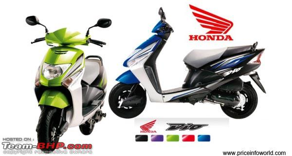 Name:  HondaDioPriceinIndia.jpg Views: 31516 Size:  30.6 KB<br /> <br /> Team-BHP will be uploading the technical specifications and features data  of each bike sold in India. <br /> Team-BHP will follow a standard, easy-to-refer-to format across all Indian bikes. With time, this data will be transferred to an interactive website section. <br /> <br /> <b>IMP : Please list out any errors in the following sheet; your contribution will greatly help the community, other BHPians &amp; guests.</b> You can point out corrections on this thread itself. Thank you!<br /> <br /> <img src=