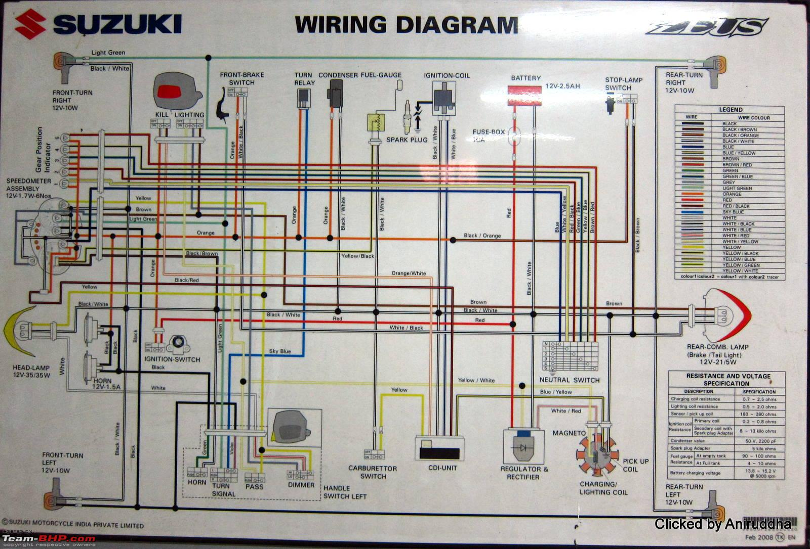 Suzuki Access 125 Wiring Diagram Electricity Drz 400 Diagrams Of Indian Two Wheelers Team Bhp Rh Com 2012 Chevy Truck