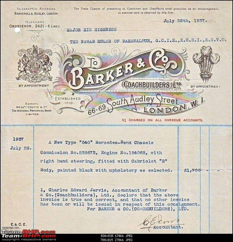 How rich were the Maharajas before Independence! Cars of the Maharajas-bahawalpur-mercedes-540k-bwp-204-barker-invoice.jpg