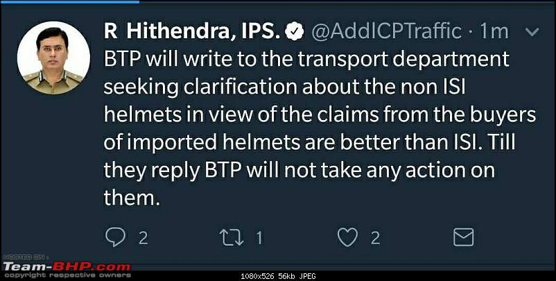 Only ISI Helmet, says Bangalore Traffic Police. EDIT: Order withdrawn-1516692567802.jpg