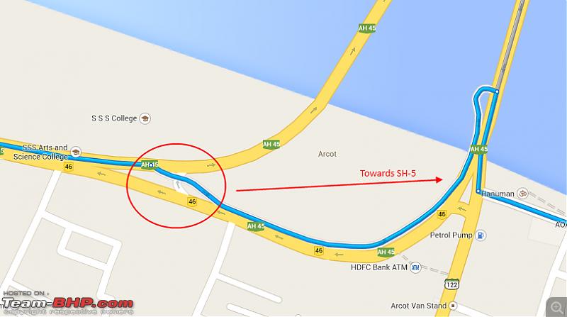 Bangalore - Pondicherry : Route Queries-arcotshortcut.png
