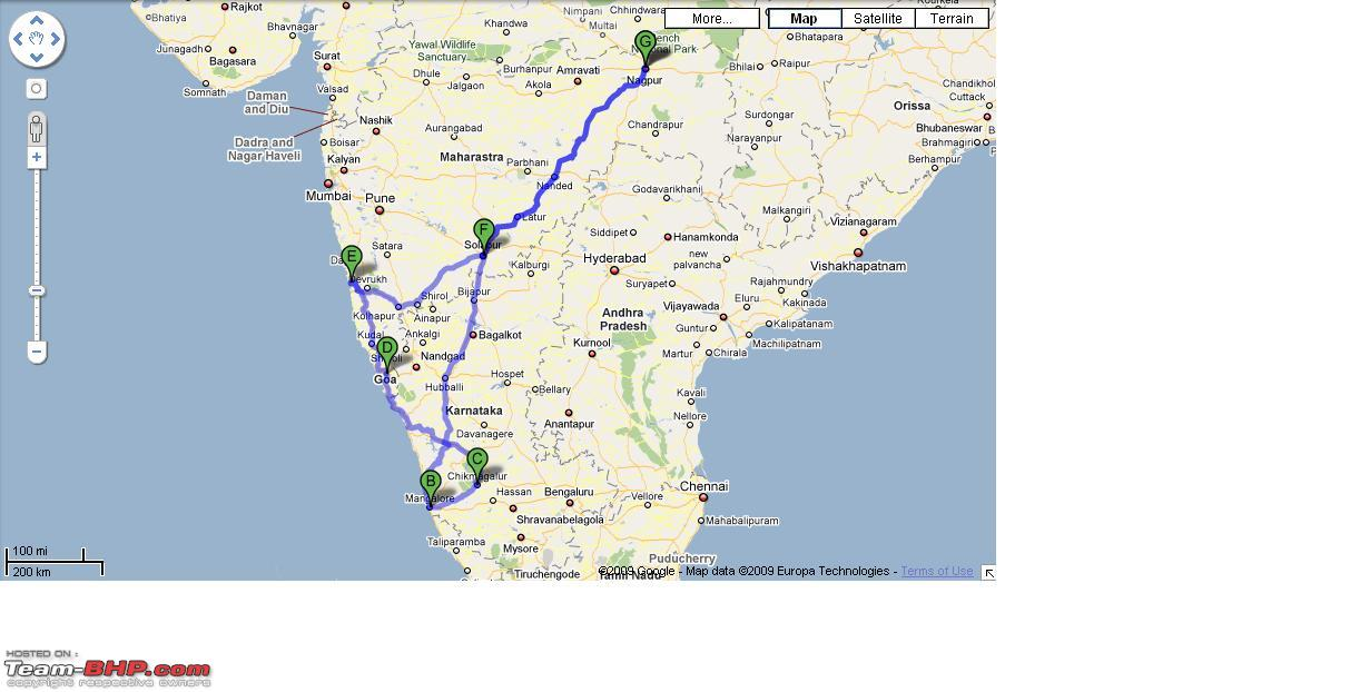Gypsy Journey Planned NagpurMangaloreChikmagalurGoaSolapur - Chikmagalur map