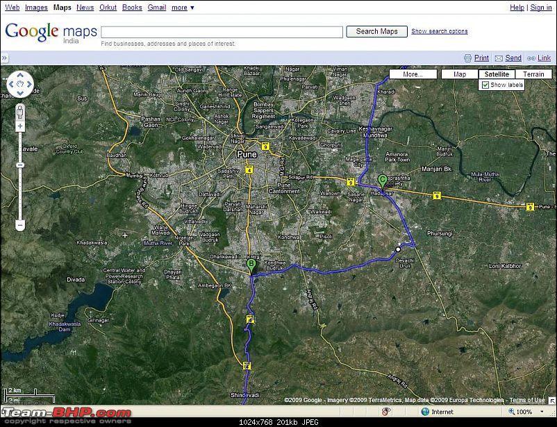 Bypassing Pune on Bangalore-Shirdi route-map.jpg