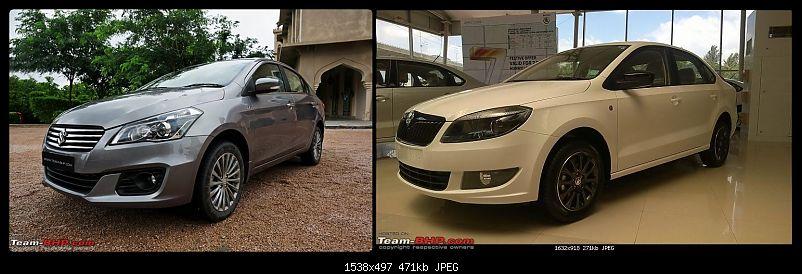 Pictorial Comparison: Maruti Ciaz vs City, Verna, Vento, Rapid, Linea, Fiesta & Manza-front-3quarters.jpg