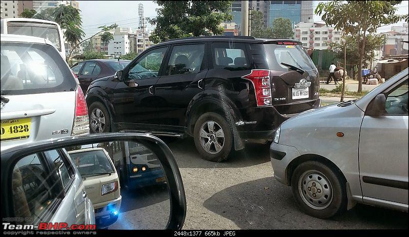 Team-BHP Stickers are here! Post sightings &amp; pics of them on your car-20130927_092703.jpg <br /> XUV 5OO with stickers at odd places. 9:30-ish this morning, ORR Doddanekundi signal.</div>   <div style=