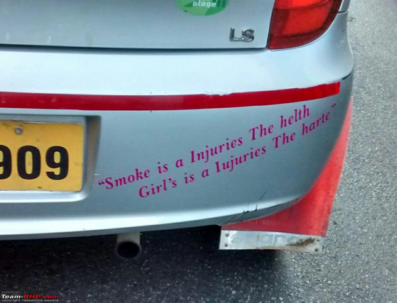 Pics of Weird, Wacky & Funny stickers / badges on cars ... Bike Stickers Wordings In Tamil