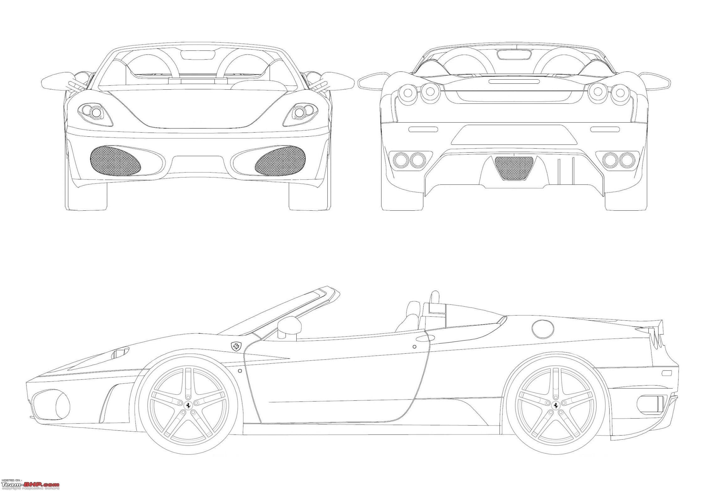 Blueprints line drawings of cars page 2 team bhp blueprints line drawings of cars ferrarif430spiderg malvernweather Gallery