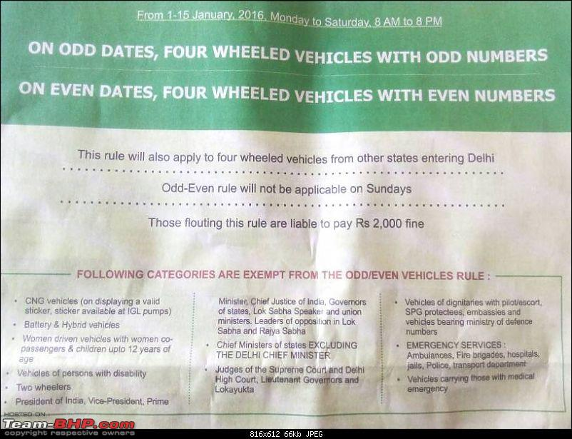 Delhi: Odd & Even numbered cars to drive on alternate days. EDIT: Rd 3 from 13th Nov - Now Cancelled-1451109130781.jpg