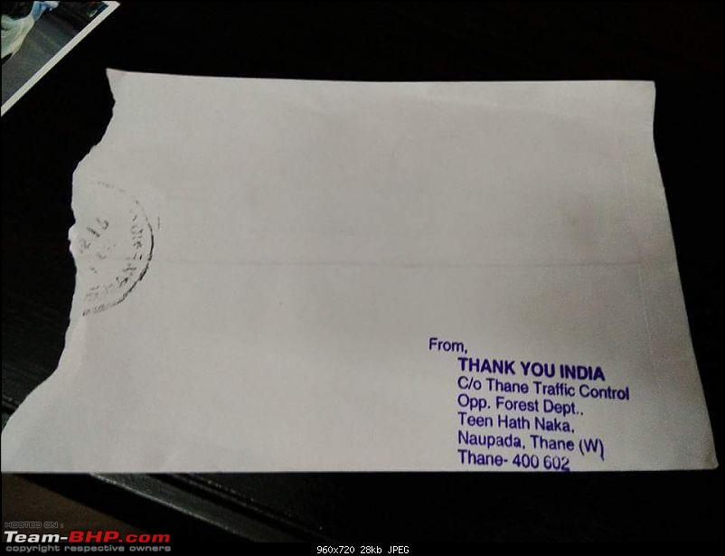 Thane: Motorists get 'thank you' notes from Traffic Police!-fb_img_1482836661432.jpg