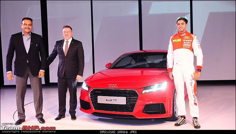 Audi TT launched in India at Rs. 60.34 lakh-ttd.jpg <br /> The TT has a new, broad and flat hexagonal singleframe grille, and 18-inch alloy wheels. LED headlamps are a part of standard equipment, while Matrix LED headlights are optional.<br /> <br /> On the inside, the TT has a driver-focussed cabin, equipped with a flat-bottom multi-function steering wheel with paddle shifters, air-conditioning and sport seats. The car gets a digital Audi virtual cockpit and a newly designed MMI terminal with MMI Navigation Plus and a 680W Bang &amp; Olufsen audio system as optional equipment.<br /> <br /> The Audi TT is imported as a CBU.</div>   <div style=