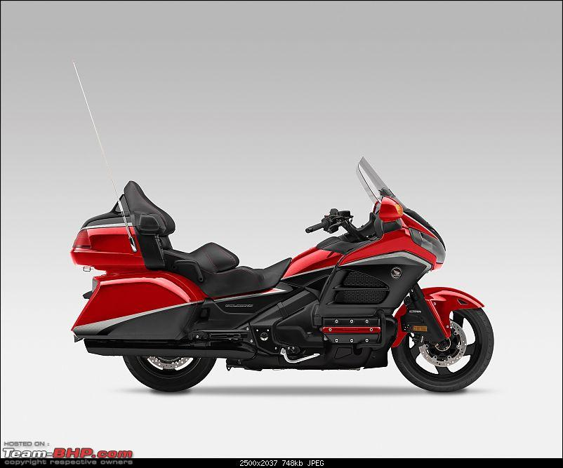 Honda Gold Wing GL1800 launched in India-honda-gold-wingdual-tone-candy-prominence-red.jpg <br /> The Gold Wing features a lightweight and rigid twin-spar aluminium frame with a 45 mm cartridge fork front suspension and a single-sided Pro-Arm swingarm at the rear. It is powered by a 1832 cc, 6-cylinder, liquid-cooled, fuel-injected 4-stroke petrol engine mated to a 5-speed transmission. Stopping power is provided by dual disc brakes at the front and a single disc brake at the rear.<br /> <br /> The Gold Wing comes equipped with features such as five-position heated grips, independently adjustable heated seats and foot-warming system, panniers with a carrying capacity of over 150 litres, 6-speaker 80W SRS surround sound system, and audio system that plays multiple format music files with iPod, iPhone and USB stick connectivity.<br /> <br /> <a href=