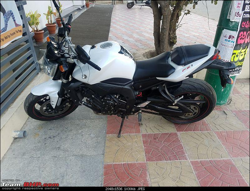 My Yamaha FZ1: Homecoming of a 12-year old following, 0.2642 gallons of fun-restingbangloreoffice.jpg