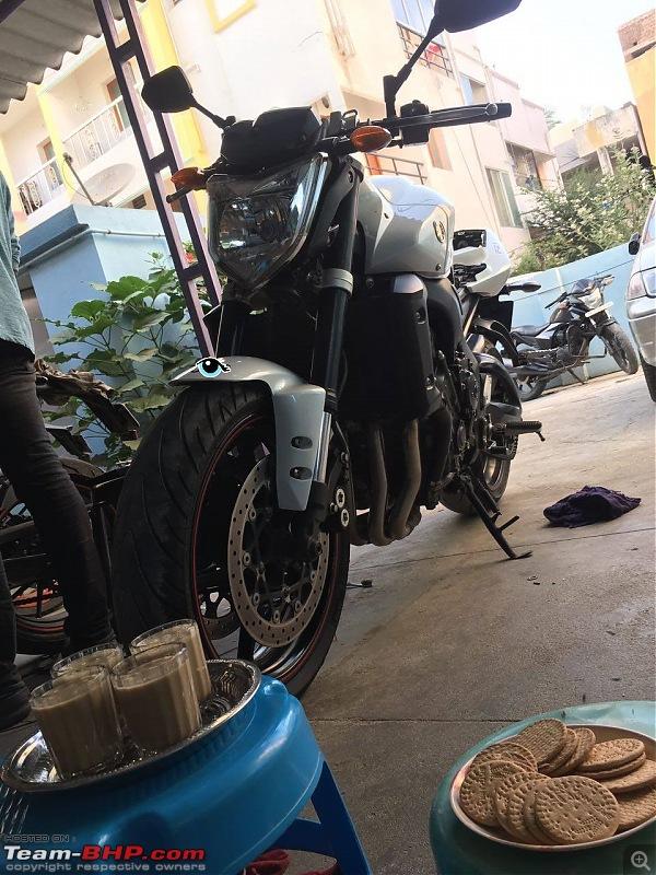 My Yamaha FZ1: Homecoming of a 12-year old following, 0.2642 gallons of fun-teatime.jpg