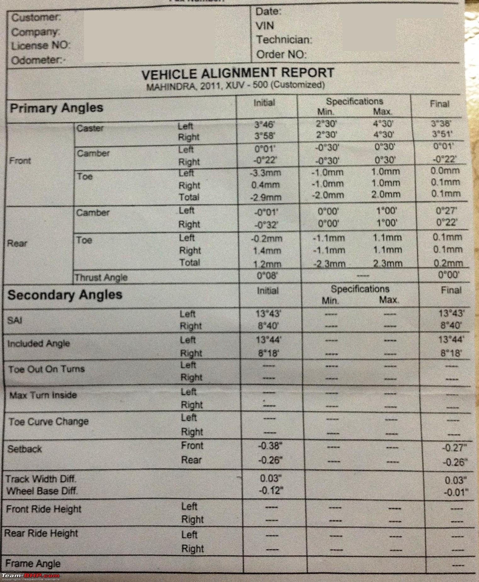 Vehicle Alignment Near Me >> Mahindra XUV500 niggles & solutions - Page 118 - Team-BHP