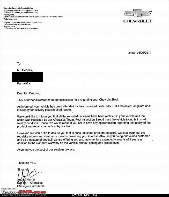 Terrible Chevrolet Beat Diesel experience: Problems with engine, suspension & air-con-assurance-letter.png