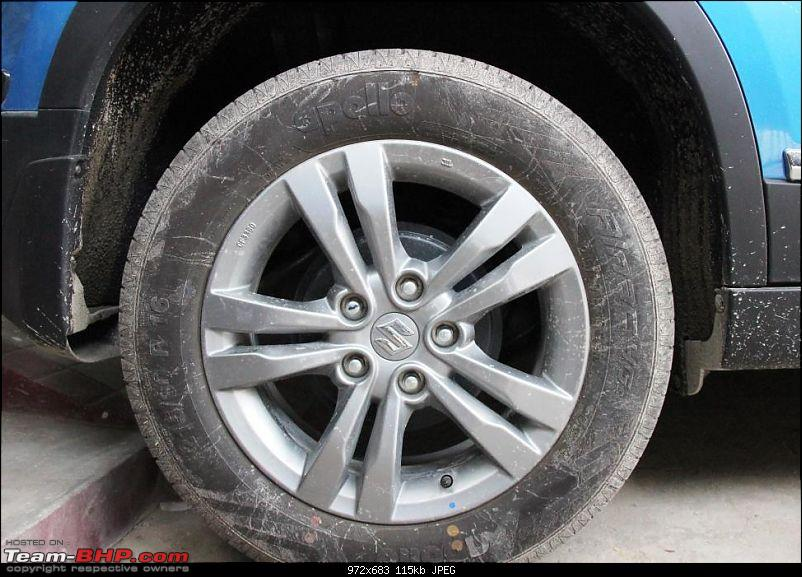Operation Khoj: Maruti Vitara Brezza ZDi+-rear-tyre.jpg