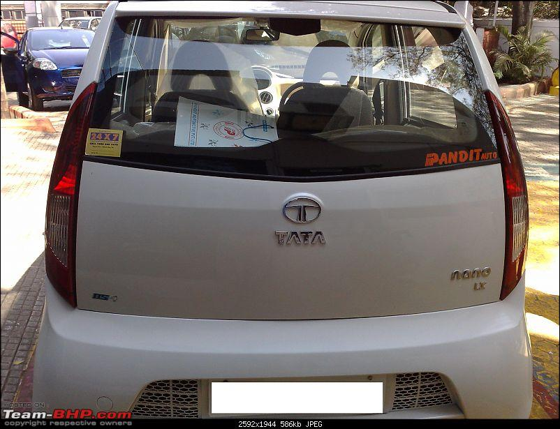 Tata Nano Pearl White LX 2012 - Surprise gift for parents!-rearview.jpg