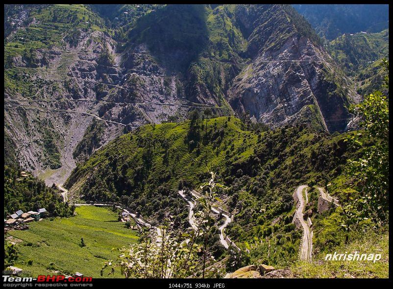 A glimpse of Paradise (Leh): 7300 kms, 8 States in a Linea-patnitop-hill-below.jpg