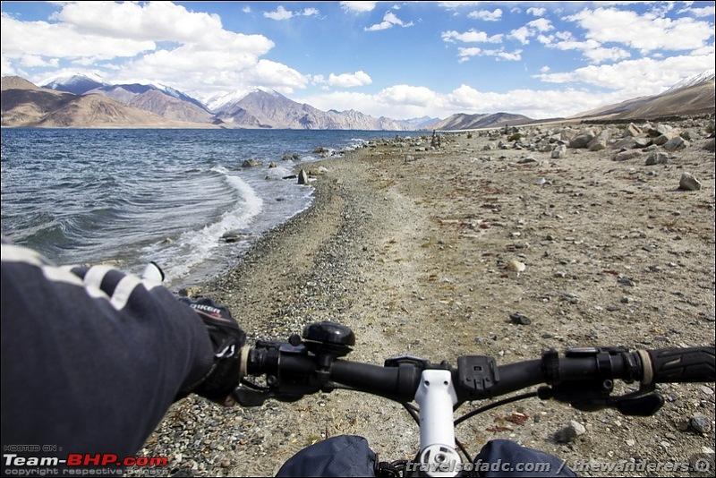 Extreme Expedition, Bicycling: Leh-Chang la-Pangong-Chushul-Kakasang la-Hor la-Mahe-cycling-along-bank-pangong-tso.jpg