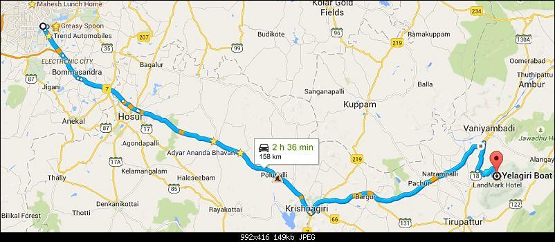 Wanderlust Traveller: Half-day drive to Yelagiri from Bangalore-route.jpg