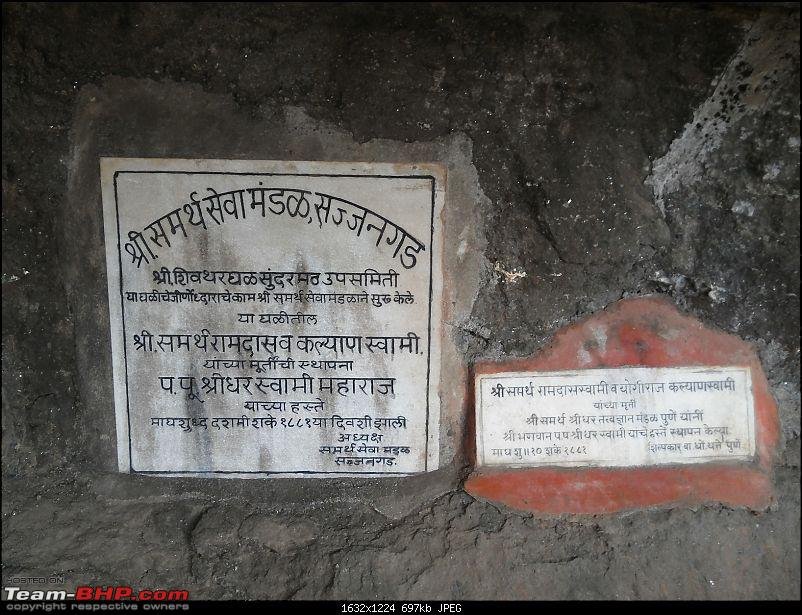 With my TUV300 to Sinhagad Fort, Balaji Temple, Narayanpur & Shivthar Ghal-42plaque-mentioning-date-idol-pratisthapana.jpg