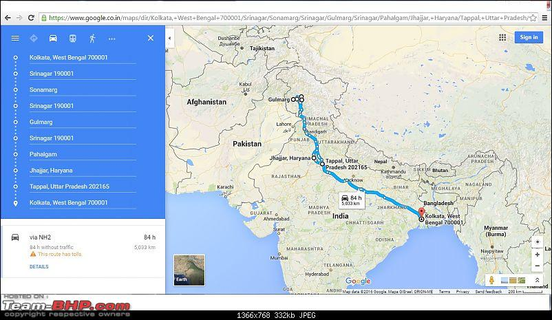 A drive to the 'Paradise on Earth' : 5226 km grand road-trip from Kolkata to Kashmir-route.jpg