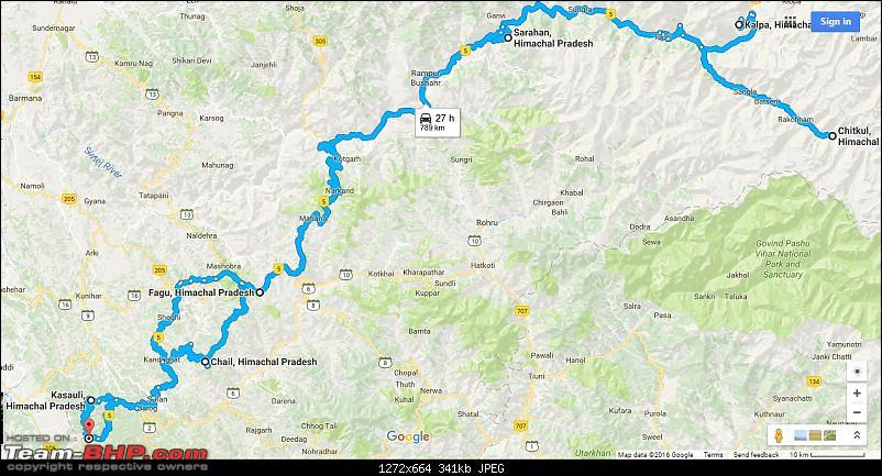 Chal Chal Himachal : Sailed through Kinnaur in a hatchback, sedan, CUV and Thar-tour-map1.jpg