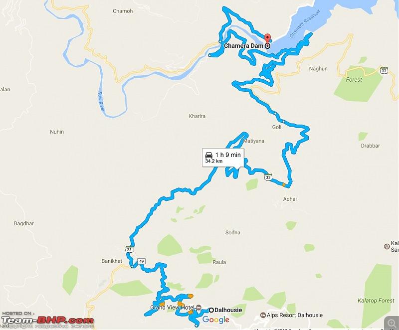 8597 Kms Drive - Exploring Himachal! Amritsar – Khajjiar – Dalhousie – Dharamshala – Manali - Chail-map_chamera.jpg