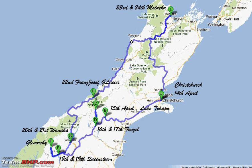 New Zealand Driving Map.Kia Ora New Zealand A 3000 Kms Driving Holiday Team Bhp