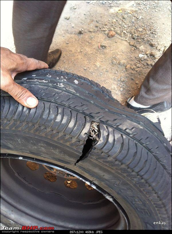 Tyre Damage - My Experience with a stock MRF Tyre on the Ford Figo-520130427-17.23.45.jpg