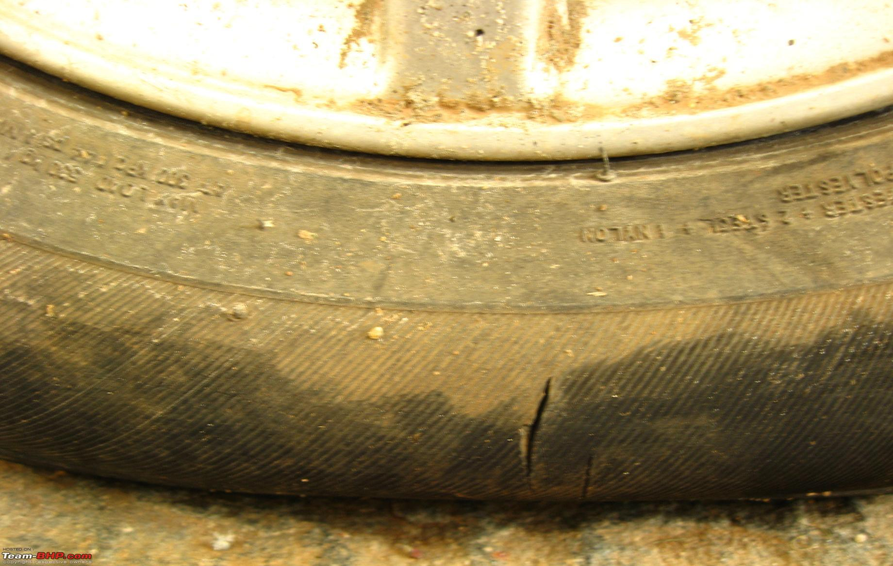 Tire Crack Filler : Crack on the sidewall of tyre team bhp