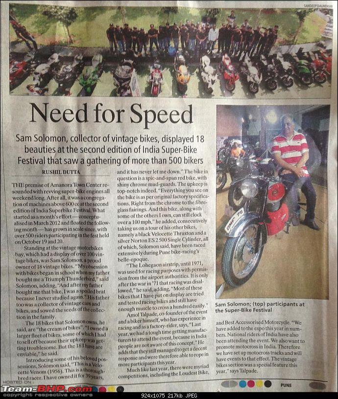 Vintage bike display at India Superbike Festival, Pune-sakal.jpeg