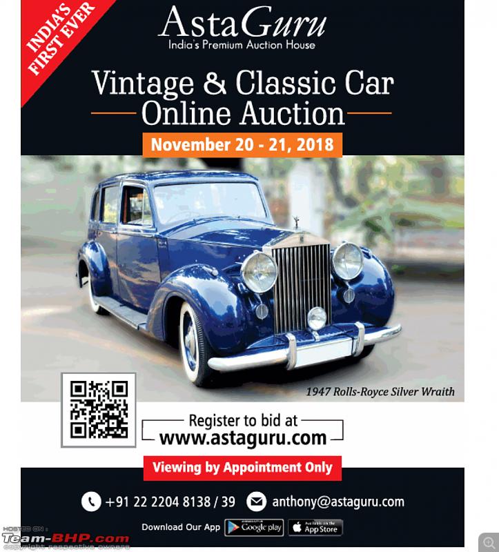 Vintage & Classic Car Online Auction : Nov 20-21, 2018