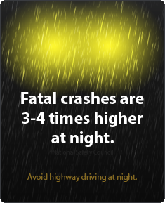 Fatal crashes are 2-3 times more likely at night