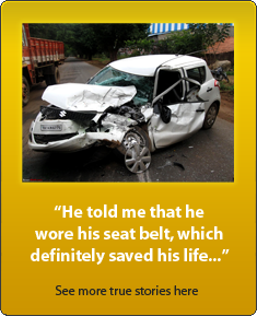 Seatbelts save lives! White swift crash