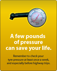 A few PSI can save your life. Check tyre pressure weekly